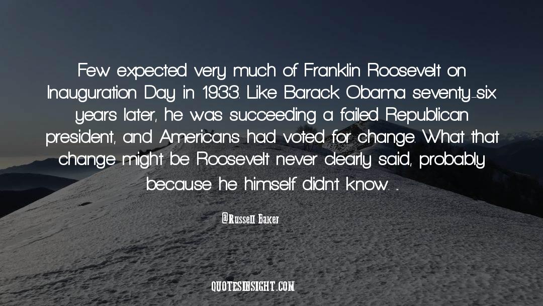 Franklin Roosevelt quotes by Russell Baker